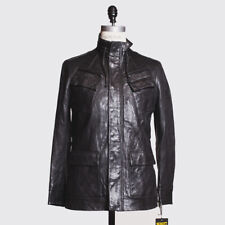 Schott NYC Jacket Size L Men Black Leather Military Coat with 6 Pockets