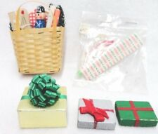 Dollhouse Miniature Christmas Decorations Gifts in Basket Wrapping Paper Ribbon