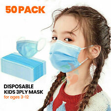 [50 PACK] Kids Disposable Face Mask 3-Ply Non-Medical Surgical Toddler Child
