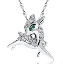 Sterling Silver Deer Raindeer Pendant Necklace Swarovski Element Crystal Box K18