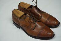 Allen Edmonds Sanford Oak Broque Cap Toe Leather Dress Shoes Sz 8.5D 5267