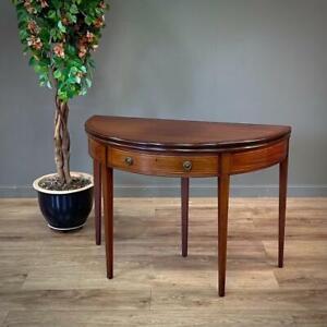 Attractive Antique Victorian Inlaid Mahogany Demilune Foldover Table