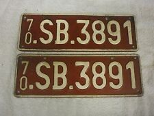2x BELGIUM 1970 SUPREME H'QTRS ALLIED PERSONEL EUROPE #70-SB.3891 LICENSE PLATES
