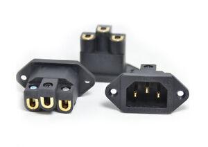 Pure Copper 24K Gold Plated IEC AC Inlet socket, Screw locking FI-06(G)