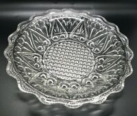 Antique EAPG Flint Clear Hearts Shallow Glass Dish Plate 8""