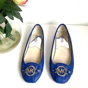 MK Michael Kors blue flat leather shoes 6.5 uk slip on pumps ballerina designer