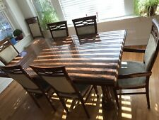 Inlaid Solid Wood Dining Room Table 6 Chairs