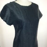 WDNY Womens Top Size Large Black Short Sleeve