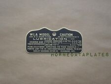 HARLEY DAVIDSON MILITARY WLA BRASS CAUTION TAG TANK DATA PLATE EARLY