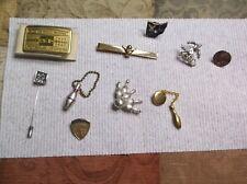 Vtg 10 Piece Lot Bowler Pins & Belt Buckle & Keychain