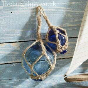 Set Of 2 Decorative Hanging Nautical Glass Buoys - 10cm & 6.5cm