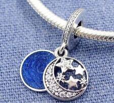 Authentic Pandora S925 Vintage Night Sky Blue Enamel Dangle Charm Bead #791993CZ