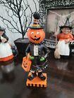 "Halloween Witch Pumpkin Head Girl Resin Figurine Tabletop Decor 8.5"""