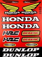 HONDA RACING HRC DUNLOP MOTORCYCLE STICKER SHEET GRAPHICS SET DECAL KIT