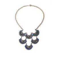 Exquiste Anthropologie Isaura Fringe Fan Blue Gemmed Silver Necklace
