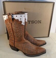 STETSON 1202151030526 SNIP TOE ANTIQUED BROWN WHITE WOMEN'S WESTERN BOOTS NEW