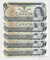 5 x Sequential 1973 $1 Bank of Canada Notes AU+