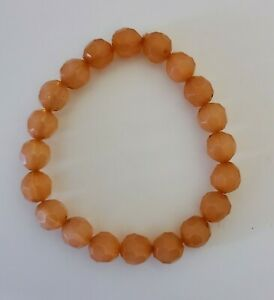 "Coral Stretchy Plastic Bracelet - 7"" Beaded Orange Fun Faceted Stone Bracelet"