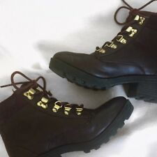 Women's Burgundy Heeled Laced Boots SIZE 2-3 GOOD CONDITION