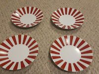 Crate and Barrel Peppermint Red Stripe Dessert Salad Plate Set Of Four 8 1/4 in.