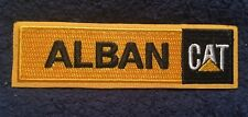 """Alban CAT Caterpillar Black embroidered patch 4.25"""" x 1.25"""" iron-on backing"""
