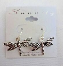 Dragonfly Earrings Drop Dangle Silver Tone Base Metal Hook Wires Pierced Ears