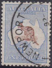 Kangaroo stamp Australia 1 pound brown & blue 1st watermark later postmark, nice