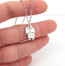 Small Cat Silver Animal Pendant Necklace For Women Fashion Gift Jewellery