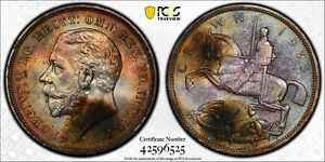 PCGS UNC GREAT BRITAIN SILVER 1 CROWN 1935 (DEEPLY TONED!) S-4048