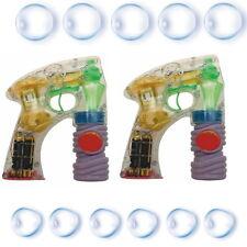2 x Seifenblasen Pistole mit Seifenwasser inkl. Batterien Bunt LED Licht Blasen