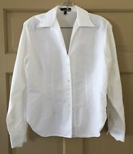 Audrey Talbott Women's Blouse White Fitted Cotton Long Sleeve Size M EUC