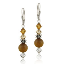 925 Silver Tigers Eye & Swarovski Elements Leverback Earrings