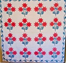 Antique Carolina Lily Quilt 1860S Great Border Saturated Quilting
