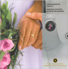2007 Wedding Colorized Flowers 25 cents coin in Royal Canadian Mint 7 coin Set