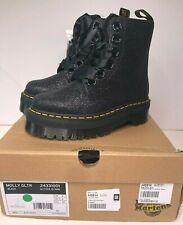 Dr. Martens  Doc Martens Molly Black Glitter Lace-Up Platform Boots - US Size 6