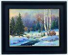 Original Art Oil on Board Winter Landscape Painting J. Henry Hallberg 12x16