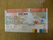 27/03/2004 Ticket: Rugby Union - Wales v Italy [At Cardiff Arms Park] (Folded).