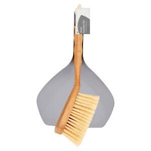 Natural Bamboo and Grey Metal Steel Dustpan and Brush Set