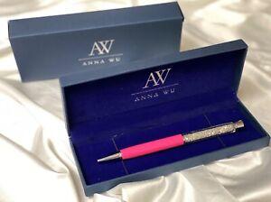 Fashion SWAROVSKI Element Crystal Pen with Anna Wu Gift Case HOT PINK