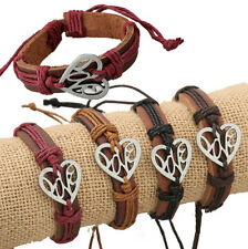 Lots 12pcs Handmade Genuine Leather Hollow Love Alloy pendant Bracelet for Gifts