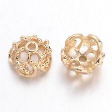 10pcs Gold Tone Filigree Alloy Flower Bead Caps Lead & Nickel Free Findings 9mm