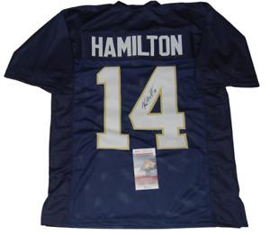 KYLE HAMILTON signed (NOTRE DAME FIGHTING IRISH) custom blue jersey JSA Witness