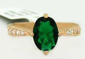 EMERALD 1.14 Cts & WHITE SAPPHIRES RING 14K ROSE GOLD PLATED * NWT * Size 8