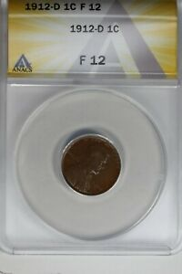 1912-D   .01   ANACS   F 12    Lincoln Head Cent, Lincoln One Cent