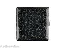 Cigarette Case Metal / Leather Look Croco /1seitig / Clasp /Case/10 King Size