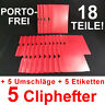 5 Cliphefter Bewerbungsmappen + 5 Umschläge + 5 Eti - ROT - Set für Bewerbung