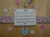 "Personalised ""GRANDMA"", Nan,Nanny Handmade Wooden Plaque...Lovely present, Gift"