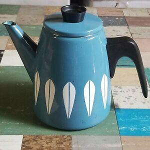 Vintage Cathrineholm Lotus Enamelware Coffee/Tea Pot Blue White Graniteware