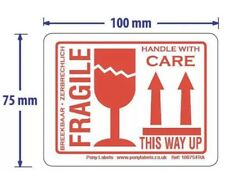 "50 Large Fragile This Way Up Handle With Care Stickers Labels 100m x 75mm 4""x3"""