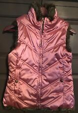Gap Kids Pink Puffer Vest with faux fur lining size XL New without Tags